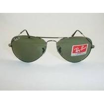 Óculos De Sol Aviador 3025 Grafite Lentes Verdes Polarizado