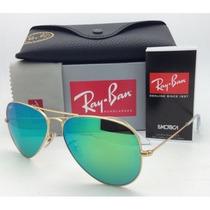 Óculos Rayban Aviador Verde Espelhado Original Várias Cores