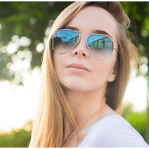 Óculos De Sol Aviador Ray Ban Azul Degrade Original
