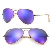 Óculos De Sol Rayban Ray Ban Aviador Espelhado Lilas Roxo