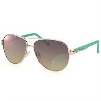 Óculos Aviador Guess Feminino Metal Dourado E Haste Verde