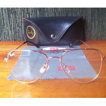 Óculos Aviador Dourado Lente Transparente