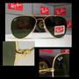 Óculos Aviator 3025 Dourado Lentes Verdes Polarizadas