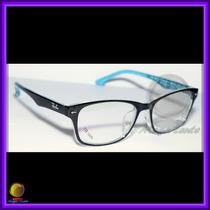 Óculos De Grau, Armação, Wayfarer Preto E Azul Ref: Rb6232