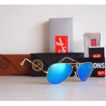 Óculos Ray Ban Aviador Azul Rb3025 Rb3026 Espelhad Original