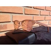 Óculos De Sol Clubmaster Wood Madeira Espelhado Lançamento