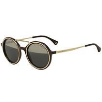 Óculos De Sol Emporio Armani Round Acetato Castanho