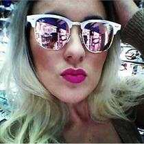 Óculos Sol Clubmaster Rose Aluminium Lente Rosa Espelhada