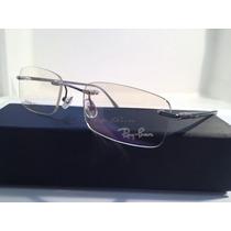 Armação De Óculos Ray-ban Sem Aro Hastes De Metal Prata