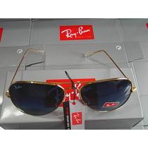 Ray Ban 3025 Aviador Dourado Lente Azul Degradê!!!