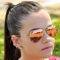 Oculos De Sol 3026 Dourado Lentes Rosa Espelhado Novidade