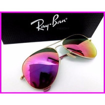 Oculos Rayban / Ray Ban Aviador Lilás Original 3025/3026