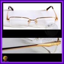 Óculos De Grau, Armação, Haste Dourada, Ref.: 8652