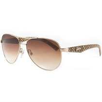 Óculos De Sol Aviador Guess Feminino Dourado Lentes Marrom