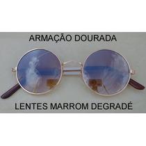 Óculos Redondo Rock Retrô Lennon Ozzy Vintage Round Metal