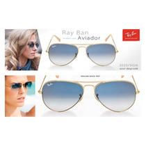 Óculos Rayban Aviador Azul Degrade Original