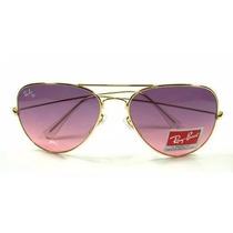 Óculos Ray Ban Estilo Aviador Rosa, Azul Degrade P,m,g