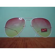 Óculos De Sol Aviador 3025 Branco Lentes Rosa Degradê
