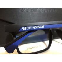 Armação Óculos De Grau Ea3034 Preto E Azul Masculino + Case