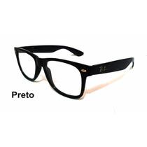 Armação Oculos Grau Wayfarer Retro Preto Quadrado Justin