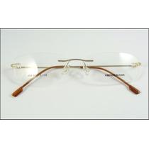 Armação Dourada Oculos Grau Titanium Dobradiça Sem Aro - 602