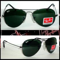 Óculos De Sol Aviador 3025 Grafite Lentes Verdes