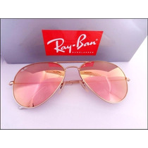 Óculos Rb3026 Dourado Com Lentes Rosê Espelhadas Cristal.