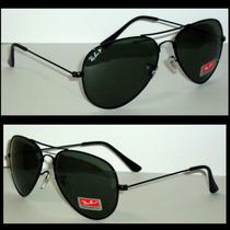 Óculos De Sol Aviador 3026 Grafite Lentes Verdes Polarizado