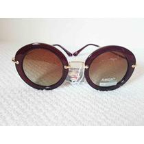 Oculos De Sol Feminino Amor Redondo Marrom