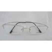 Armação P/ Óculos De Grau Meio Aro Em Titânio Titanium Prata