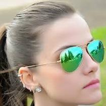 Oculos Rayban Aviator Verde Espelhado Frete Grátis