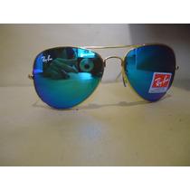 Ray Ban Aviator 3026 Dourado Lente Azul Espelhado Cristal