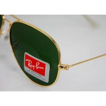 Óculos De Sol Aviador 3025 Dourado Lentes Verdes