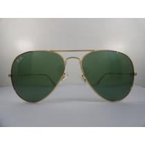 Oculos De Sol 3025 Aviador Dourado Lente Verde G15