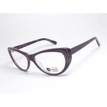 Armação De Óculos Para Grau Gatinho Roxo Strass 8008 C3 Mj