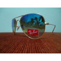 Óculos Aviador 3026 Dourado Azul Espelhado Degrade Original