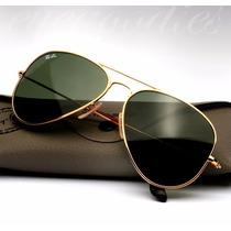 Óculos Sol Ray Ban Rb3025 001/58 Aviador Dourado Lente Verde