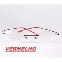Armação Vermelha Sem Aro P/ Óculos De Grau Em Titânio Memory