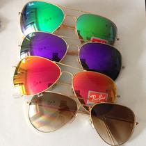 Óculos Ray Ban Aviador Espelhado Verde 62mm Rb 3025 3026