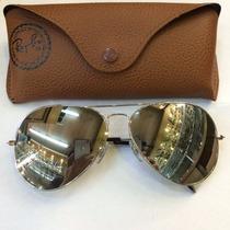 Óculos De Sol Rayban Aviador 3026 Prata Espelhado Original