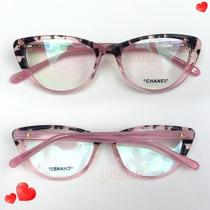 Óculos Armação De Grau Chanell Gatinho Oncinha
