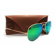 Óculos Ray Ban Aviador Verde Espelhado Cristal +frete Grátis