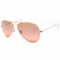Aviador Rayban 3025 3026 Rosa Espelhada C/ Dourado Original