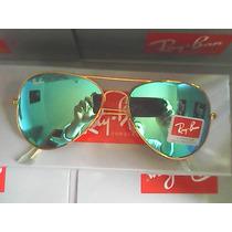 Ray Ban 3025 Dourado Lente Azul De Cristal Original Promoção