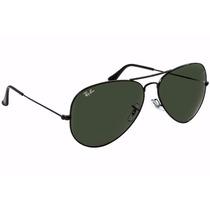 Oculos De Sol Aviador Rb3026 Preto Com Lentes Pretas