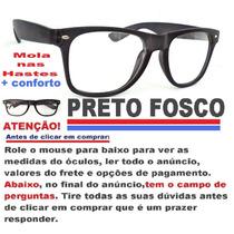 Armação Estilo Wayfarer P/ Óculos De Grau Preto Fosco C/mola
