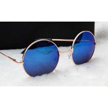 Óculos De Sol Estilo John Lennon Lentes Espelhadas Uva Uvb