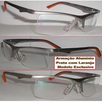 Armação Alumínio Para Óculos De Grau Mola Hastes Exclusivo
