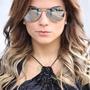 Óculos Sol Aviador Espelhado Prata Platinum Cinza