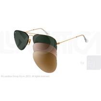 Óculos De Sol Ray-ban Rb3460 Flip Out Original Dourado